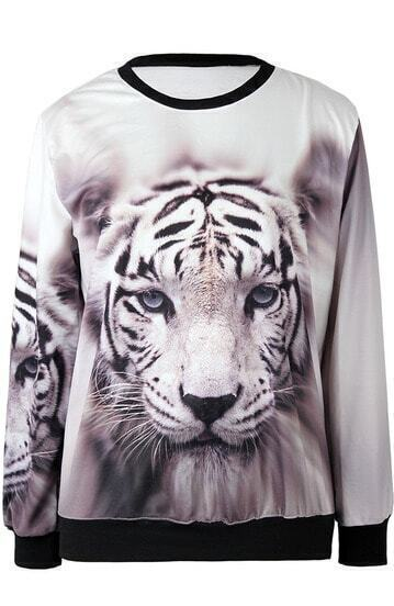 Beige Long Sleeve Tiger Print Loose Sweatshirt