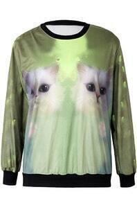 Green Long Sleeve Cats Print Loose Sweatshirt