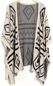 Apricot Short Sleeve Geometric Pattern Cardigan