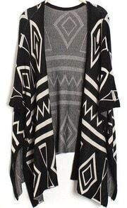 Black Short Sleeve Geometric Pattern Cardigan