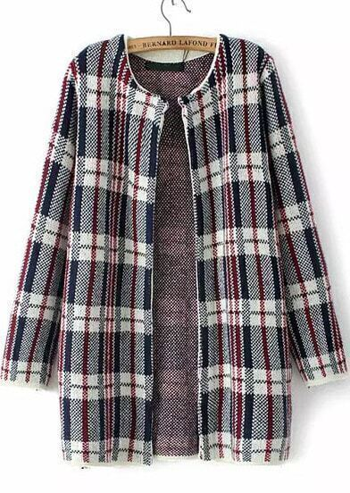 Blue Long Sleeve Plaid Loose Cardigan