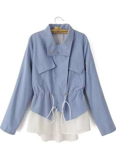 Blue Lapel Long Sleeve Drawstring Outerwear