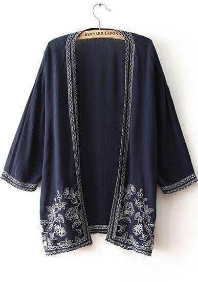 Navy Half Sleeve Embroidered Loose Kimono
