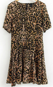 Leopard Round Neck Short Sleeve Pleated Dress