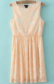 Orange Sleeveless Floral Lace Pleated Dress