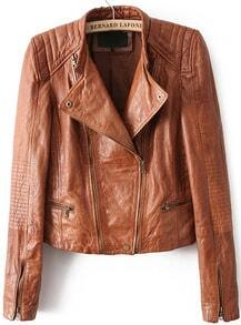 Khaki Long Sleeve Crop PU Leather Jacket