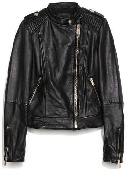 Black Long Sleeve Epaulet Crop PU Jacket