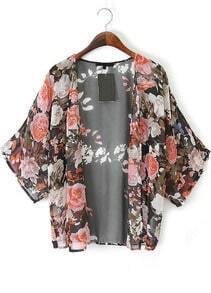 Black Vintage Floral Chiffon Kimono