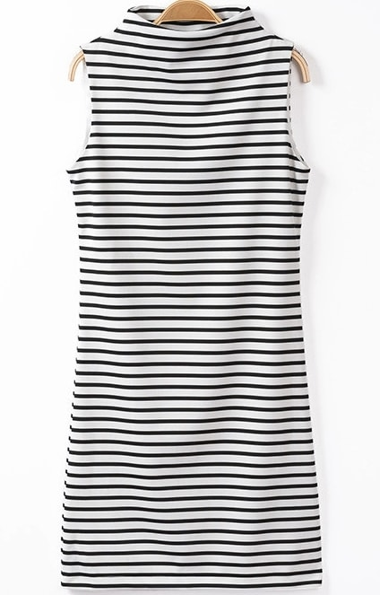 Black White Stand Collar Striped Dress