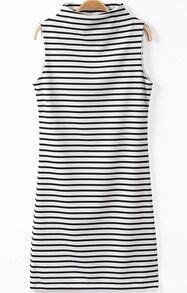 Black White Stand Collar Striped Dress