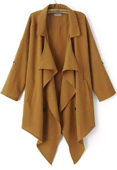 Khaki Lapel Long Sleeve Asymmetrical Chiffon Outerwear