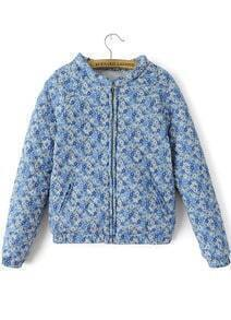 Blue Long Sleeve Zipper Floral Outerwear