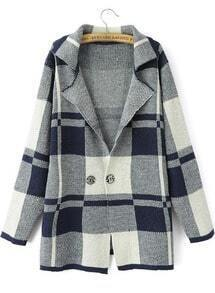 Navy Lapel Long Sleeve Plaid Outerwear