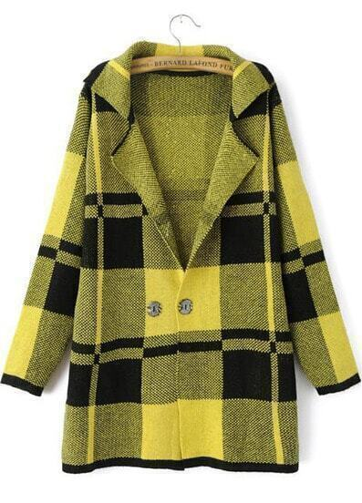 Yellow Lapel Long Sleeve Plaid Outerwear