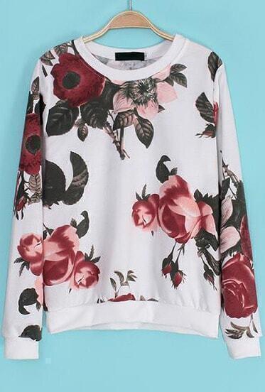 White Long Sleeve Floral Loose Sweatshirt
