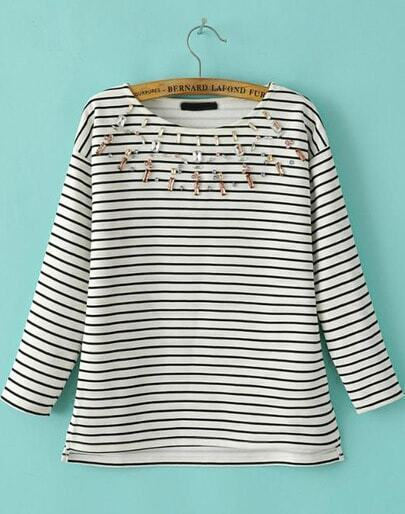 White Black Long Sleeve Striped Rhinestone Sweatshirt
