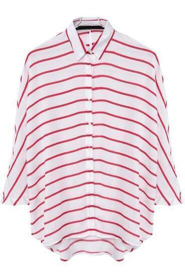 Red White Lapel Striped Loose Blouse