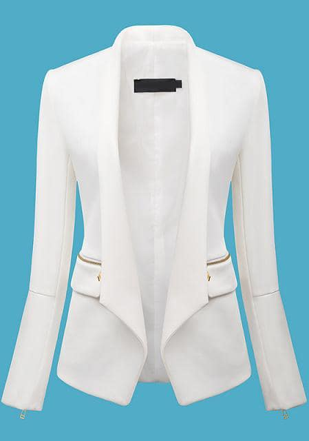 White Long Sleeve Zipper Fitted Blazer -SheIn(Sheinside)