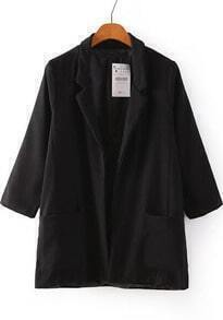 Black Notch Lapel Pockets Loose Blazer