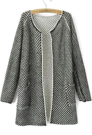 Black Long Sleeve Net Pattern Pockets Cardigan