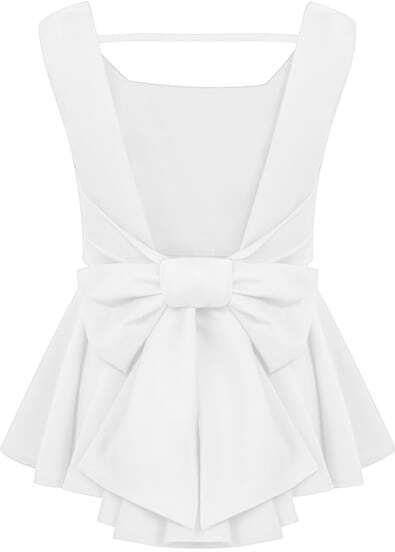 White Sleeveless Backless Bow Ruffle Top