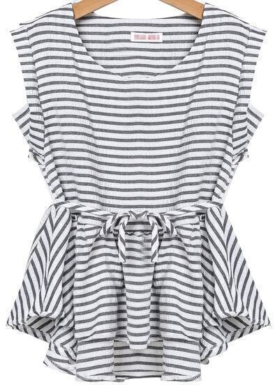 Black Sleeveless Striped Ruffle Top