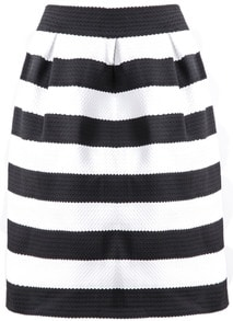 Black White Striped Zipper Skirt
