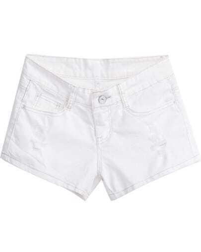 White Ripped Pockets Straight Denim Shorts