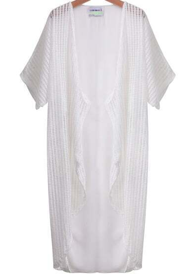 White Short Sleeve Hollow Sheer Chiffon Kimono