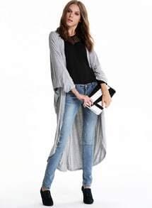 Grey Long Sleeve Loose Maxi Kimono
