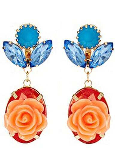 Red Gemstone Flower Earrings
