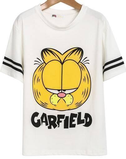 White Short Sleeve Garfield Print T-Shirt
