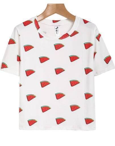 White Short Sleeve Watermelon Print T-Shirt