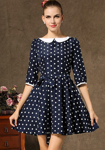 Navy Half Sleeve Polka Dot Pleated Dress