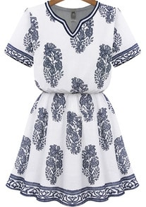 White V Neck Blouson Short Sleeve Floral Dress