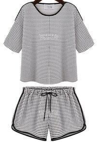 Black White Plaid Top With Drawstring Waist Shorts