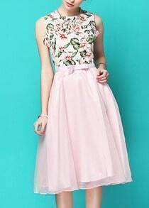 White Sleeveless Floral Top With Pink High Waist Skirt
