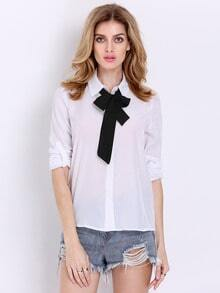 White Tie Neck Long Sleeve Slim Blouse