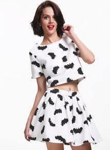 Apricot Short Sleeve Bat Print Top With Flare Skirt
