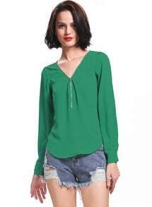 Green V Neck Long Sleeve Zipper Top