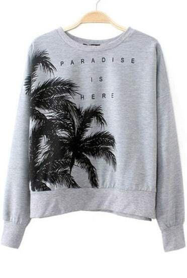 Grey Batwing Sleeve Coconut Trees Print Sweatshirt