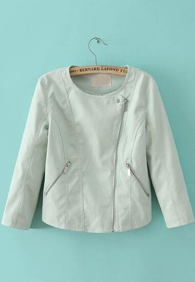 Blue Long Sleeve Oblique Zipper Pockets Jacket