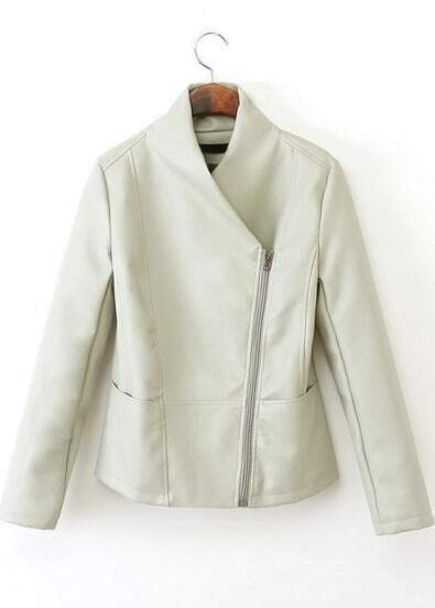White Long Sleeve Zipper PU Leather Jacket