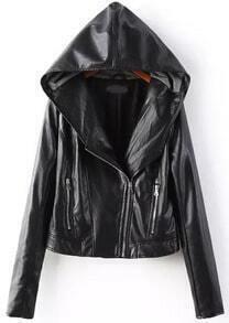 Black Hooded Long Sleeve Zipper PU Jacket