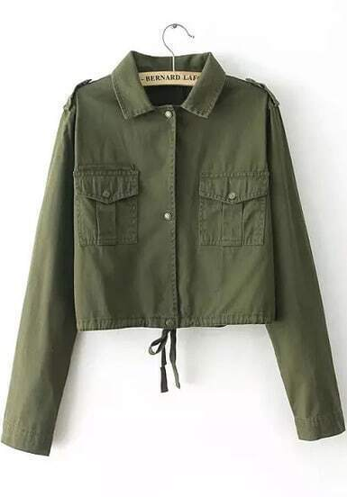 Army Green Lapel Long Sleeve Crop Jacket