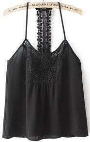 Black Spaghetti Strap Floral Crochet Vest