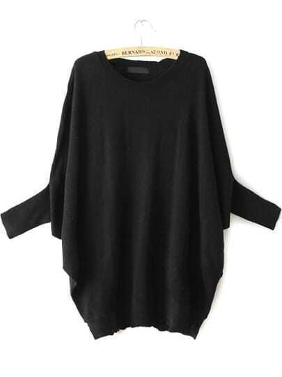 Black Batwing Sleeve Loose Knit Sweater