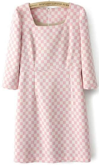 Pink Scoop Neck Shoulder Pads Plaid Dress