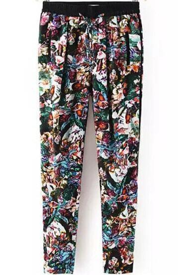 Black Elastic Waist Vintage Floral Pant