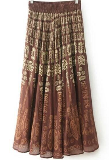 Red Vintage Totem Print Pleated Skirt